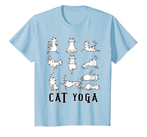 Kids Fun Cat Yoga Gift T Shirt, Cute Family Gift, Lt 4 Baby Blue