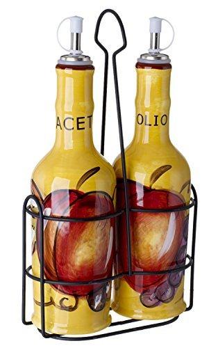 Original Cucina Italiana 14 Oz. Ceramic Olive Oil and Vinegar Dispenser Bottle, Cruet Set of 3 by 5th Ave - Ave Store 5th