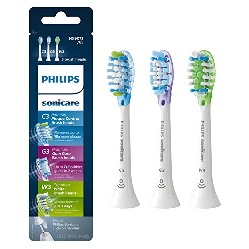 - Genuine Philips Sonicare toothbrush head - C3 Premium Plaque Control, G3 Premium Gum Care & W3 Premium White, HX9073/65, 3-pk, White