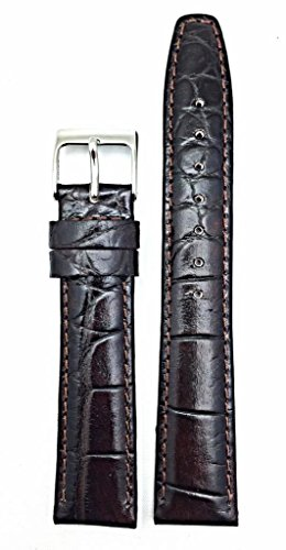 20mm Dark Brown Genuine Leather Watch Band | Alligator Crocodile Grain, Lightly Padded Replacement Wrist Strap That Brings New Life to Any Watch (Mens Standard Length)