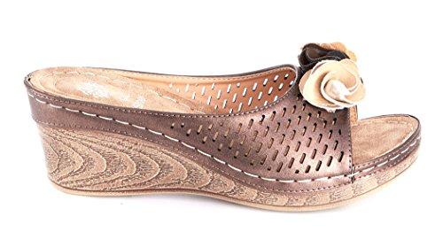 Gc Schoenen Dames Sydney Rozet Slide Wedge Sandals Brons