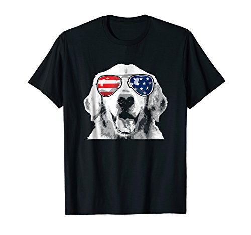 Patriotic Golden Retriever Dog T-Shirt 4th of july ()