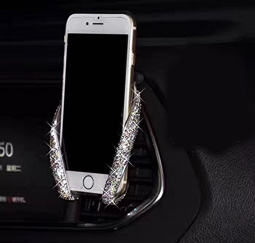 (Bestbling Bling Rhinestone Crystal Convenient Car Dash Air Vent Slip-On ADJUSTABLE Phone Holder for Easy View GPS Screen (Silver M holder) (Silver))