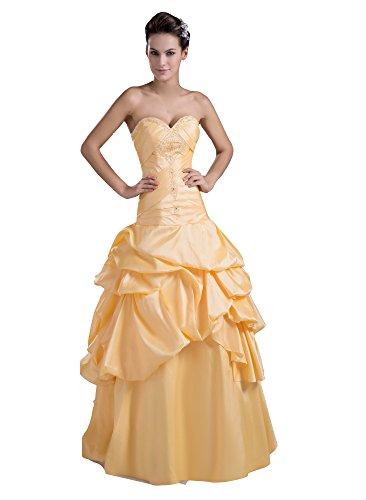 VogueZone009 Womens Strapless Sleeveless Pongee Wedding Dress with Nail Acrylic, Yellow, 8