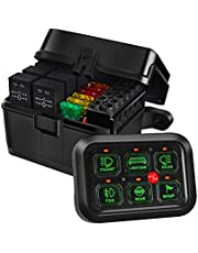 Auxpower 6 Gang Switch Panel with Electronic Relays, Automatic Dimmable LED Switch Panel for Truck Car Offroad UTV SUV Caravan Boat, Waterproof (Blue)