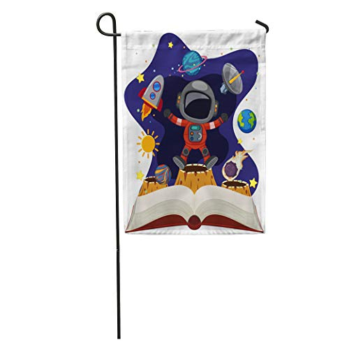 Semtomn Garden Flag Science Astronomy Book Astronaut in Space Storybook Clip Clipart Comet Home Yard House Decor Barnner Outdoor Stand 28x40 Inches -