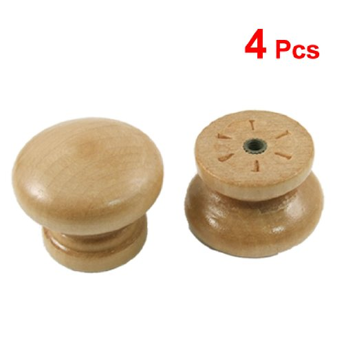 Wooden Furniture Knobs (uxcell a12010500ux0122 4 Pcs Cabinet Drawer 1.4-Inch Diameter Round Wooden Pull Knobs)