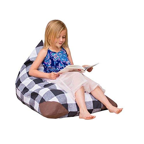 Stuffed Animal Storage Bean Bag Chair Cover For Kids-Plush Toy Organization For Toddler's Room Playroom | Sleeping Bag | Soft And Comfortable Bean Bag Bed | Easy Carrying Plaid For - Animal Bag Sleeping Bed
