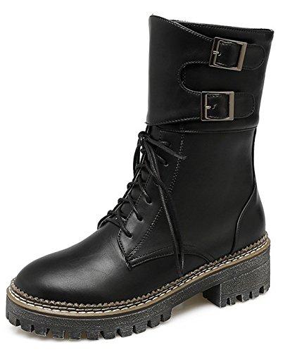 À Motards Lacets Bottines Mode Femme Aisun Noir Militaire qgIgp