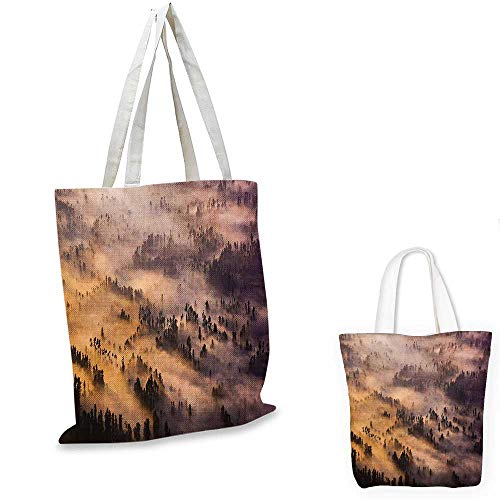 Mystic shopping bag storage pouch Sunrise over a Foggy Mystic Forest Summer Morning Time Wildlife Scenic Picture small tote shopping bag Yellow Brown. 15