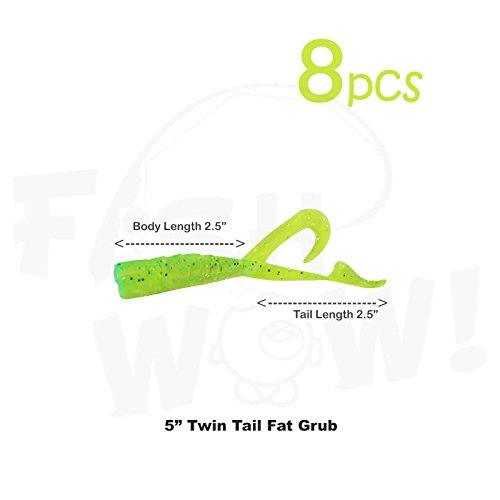 - Fish WOW! 8pcs Extended Size 5 inch Twin Tail Perch Grub 4