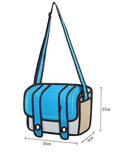 Leegoal Women 3D Jump Style 2D Drawing From Cartoon Paper Bag ,Blue