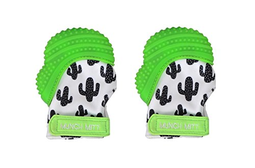 Munch Mitt Trendy Collection Teething Mitten- Original Mom Invented Teething Toy- Teether Stays on Babys Hand for Pain Relief- Ideal Baby Shower Gift with Handy Travel/Laundry Bag- 2 pk Green Cactus from Munch Mitt