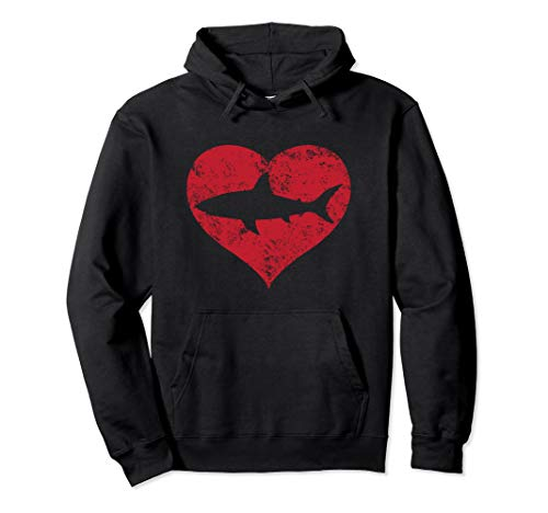 I Love Sharks Gift Cute Distressed Design Red Heart Shark  Pullover Hoodie
