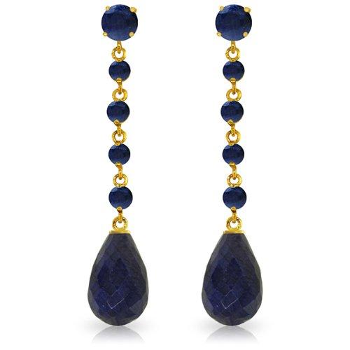 14k Solid Gold Sapphire Dangle Earrings