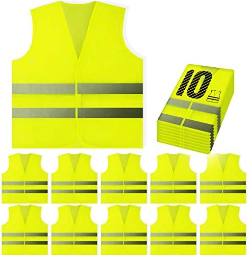PeerBasics, 10 Pack, Yellow Reflective High Visibility Safety Vest, Hi Vis Silver Strip, Men & Women, Work, Cycling, Runner, Surveyor, Volunteer, Crossing Guard, Road, Construction, Neon (Mesh, 10