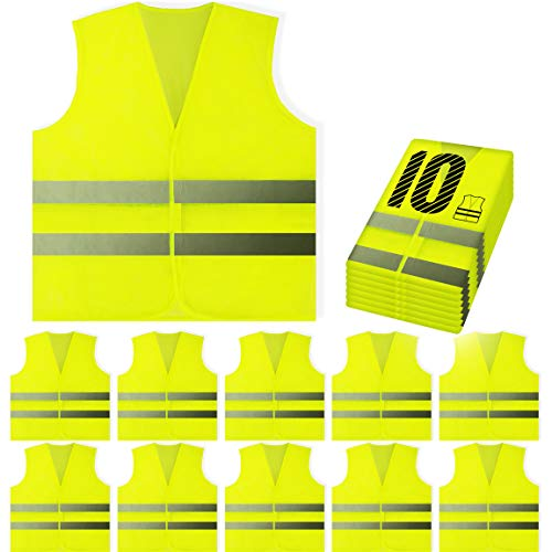 PeerBasics, 10 Pack, Yellow Reflective High Visibility Safety Vest, Hi Vis Silver Strip, Men & Women, Work, Cycling…