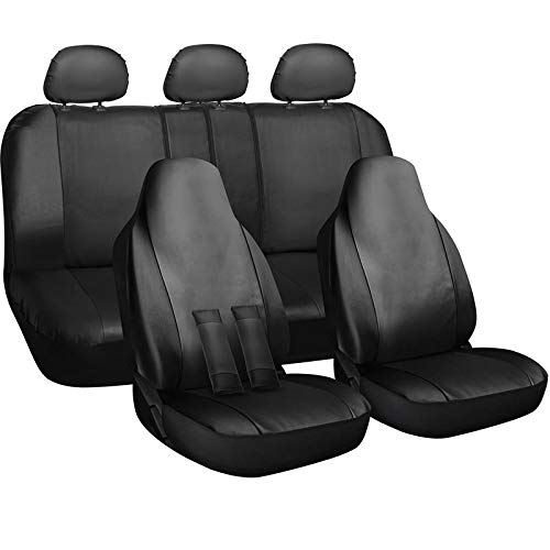 Seat Envoy - Motorup America Auto Seat Cover Full Set - Fits Select Vehicles Car Truck Van SUV - Solid Leather Black