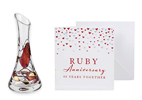 Quality Ruby Wedding Set - Ruby Mosaic Angled Flower/Bud Glass Vase - Mouth Blown/Hand Decorated Glass - 17cm Plus Ruby Anniversary Greetings Card