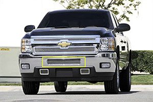 Upper Class Small Mesh Stainless Polished Finish Bumper Grille Overlay for Chevrolet Silverado HD (Upper Class Series Bumper Grille)