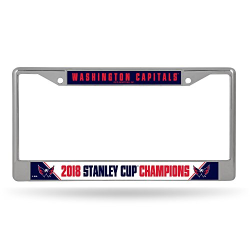 Rico Industries NHL Washington Capitals 2018 Stanley Cup Champions Standard Chrome License Plate Frame