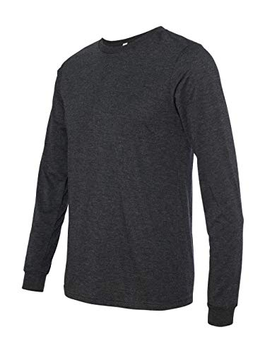 Bella 3501 Mens Jersey Long Sleeve Tee - Charcoal-Black Triblend, Small