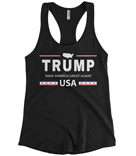 Cybertela Women's Trump Make America Great Again USA Racerback Tank Top (Black, - Tank Make Out A Shirt Top Of At
