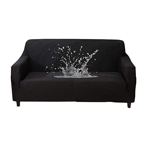 HOTNIU Waterproof Stretch Sofa Couch Covers - 1-Piece Thick Spandex Fabric Loveseat Couch Slipcover - Elastic Universal Fitted Seat Furniture Protector (Black, Sofa)