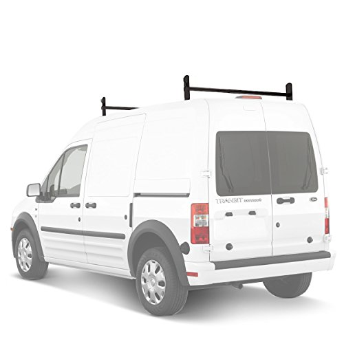 (AA-Racks Model DX36 Compatible Ford Transit Connect 2008-13 Steel 2 Bar Utility Drilling Van Roof Ladder Rack System - Sandy Black)