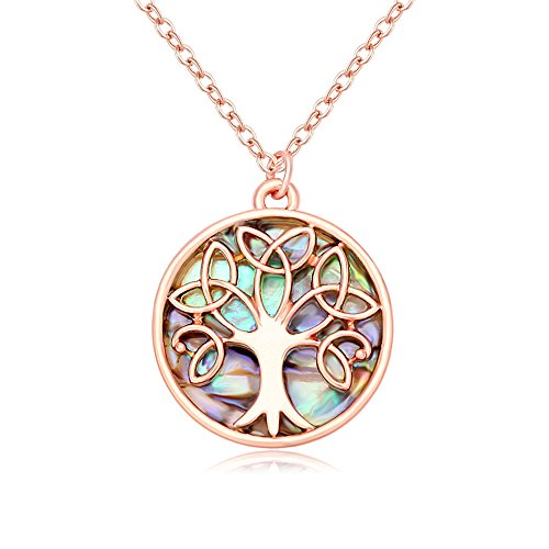 MANZHEN Gold Rose Gold Silver Transparent Natural Abalone Shell Tree Charm Pendant Necklace18'' (Celtic Knot Tree-Rose ()