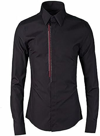 Los hombres camisetas rojo y negro bares bordado camisa de hombre marea camisas de hombres, hombres, Negro, 46: Amazon.es: Ropa y accesorios