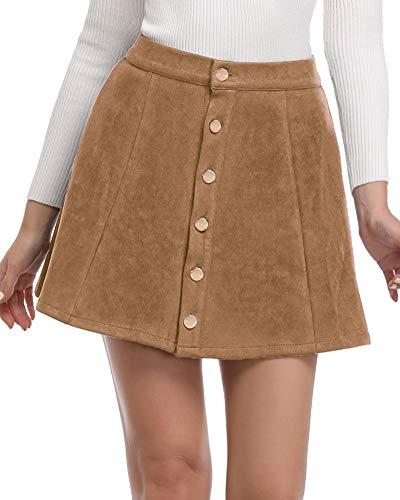 Argstar Womens Faux Suede Button Closure A-Line Mini Short Skirt, Ginger, Large ()