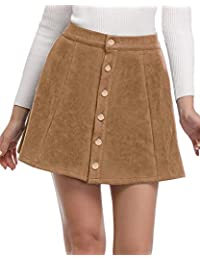 Women's Faux Suede Button Closure A-Line Mini Short Skirt for Christmas