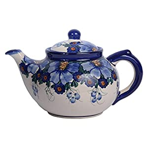 Traditional Polish Pottery, Handcrafted Ceramic 7-Cup Teapot with Lid (1350ml), Boleslawiec Style Pattern, H.101.Passion