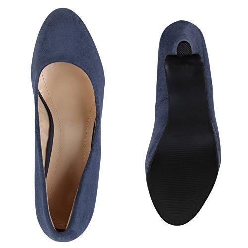 Stiefelparadies Klassische Damen Pumps Stiletto High Heels Leder-Optik Schuhe Flandell Dunkelblau Bexhill