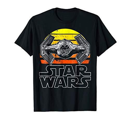 Star Wars Tie Fighter Retro Halftone Sunset Graphic T-Shirt