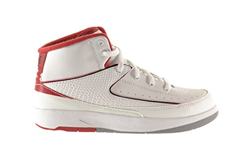 (Jordan 2 Retro BP Little Kids Shoes White/Black-Varsity Red-Cement Grey 395719-102 (2 M US))