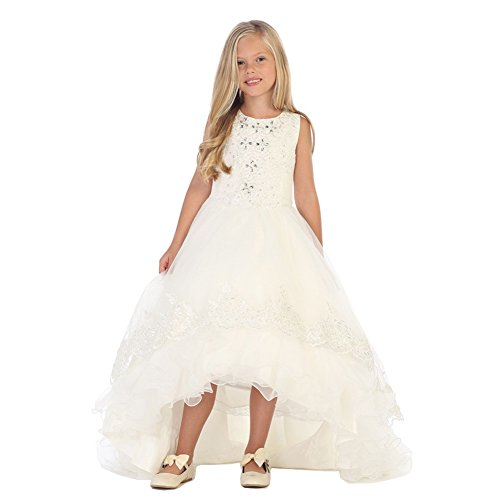 Train Short Sleeve Satin (Angels Garment Big Girls Ivory Satin Tulle Train Junior Bridesmaid Dress 7)