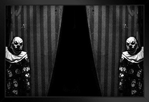 Carnival Curtains with Creepy Clown B&W Photo Art Print Framed Poster 20x14 -
