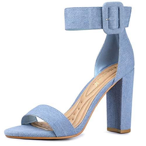 (Allegra K Women's Block Heel Buckle Ankle Strap Sandals (Size US 5.5) Denim Blue)