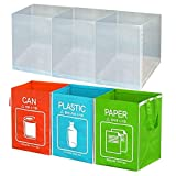 Recycle Bin Separate Recycle Bag Waste Baskets Compartment Container with Inner Frame (3 Bins + 3 Inner Frames) by Happy Sale
