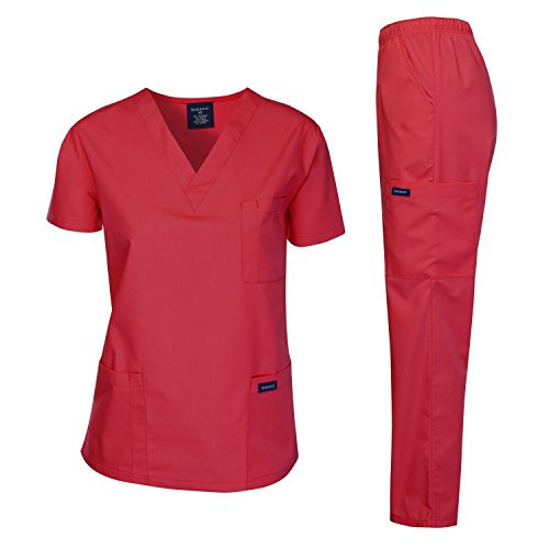 Dagacci Medical Uniform Woman and Man Scrub Set Unisex Medical Scrub Top and Pant, RED, S (Red Womens Scrub Top)