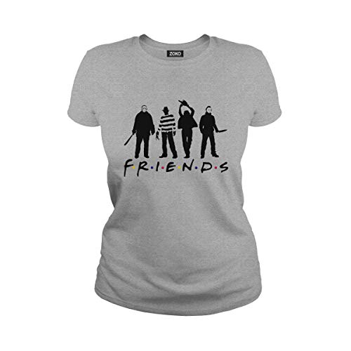 Zoko Apparel Women's Horror Halloween Movie Friends T-Shirt