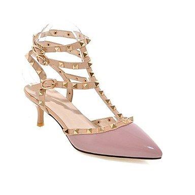 LvYuan Mujer-Tacón Stiletto-Confort Talón Descubierto Zapatos del club-Sandalias-Oficina y Trabajo Vestido Fiesta y Noche-Cuero Patentado-Negro Burgundy