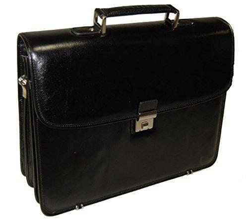 Leather Triple Gusset Flap - Castello Italian Leather Flap-over Triple Gusset Brief (black)