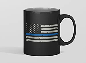 THIN BLUE LINE AMERICAN FLAG COFFEE MUG- retired police officer gift -Firefighter collectibles -Firefighter wife mugs-USflag thin blue line birthday gifts for her/him/men/women/mom/Dad/Wife/Husband