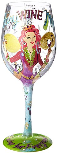 "Designs by Lolita ""Fairy Wine Mother"" Hand-painted Artisan Wine Glass, 15 (Design Wine Glass)"