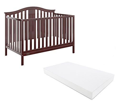 Cribs Convert Toddler Beds - Graco Solano 4-in-1 Convertible Crib With Mattress, Espresso, Converts to Toddler Bed Day Bed or Full Bed, Three Position Adjustable Height Mattress (Premium Mattress Included)