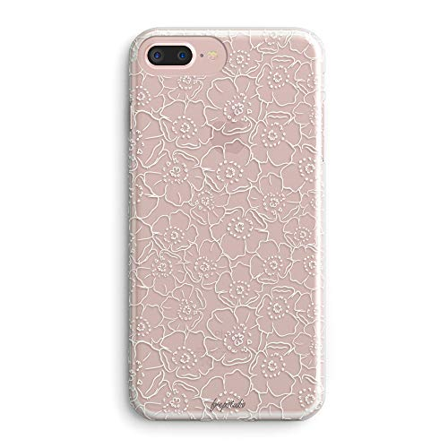 (iPhone 7 Plus/iPhone 8 Plus Case,Roses Floral Flowers Daisy Blooms Women Girls Trendy White Simple Line Elegant Classical Less is More Cute Lovely Clear Soft Case Compatible for iPhone 8 Plus/7 Plus)