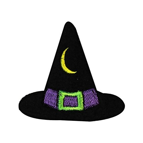 ID 0901B Witches Hat Patch Moon Halloween Treat Embroidered Iron On Applique -